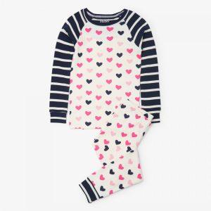 Hatley Lovey Hearts Organic Cotton Raglan Pajama Set