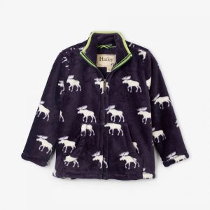 Hatley Moose Silhouettes Fuzzy Fleece Zip Up