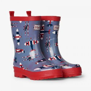 Hatley Paper PLanes Shiny Rain Boots2