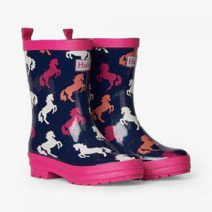 Hatley Playful Horses Shiny Rain Boots