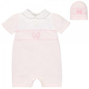 Emile et Rose Sally Baby Girl's Pink Knitted Romper & Hat